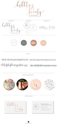 Bubbly & Lovely Events · Hamptons Designs #branding #board #logo #rose #gold #concepts #brand #stylist #color #palette #business #card