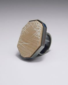 Julia Turner Ring (Untitled), 2008. Sterling silver, maple, gesso. 1.1 x 1 x .7 in (2.9 x 2.5 x 2.2 cm).