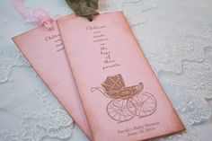Baby Shower Bookmark Favors Girl Carriage by SeasonalDelightsBaby, $20.00