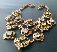 WOW Vtg Signed JOSEFF Of Hollywood Citrine Rhinestone Deco Flower Necklace T23