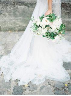 Inbal Dror silver lace and chiffon bridal gown photo Darcy Benincosa