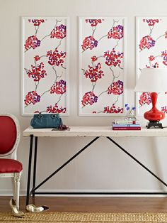 Easy Art      With a roll of a large-scale floral, we created a trio of dramatic art panels for less than $100. To get the look, apply sections side by side using a level and wallpaper adhesive, following the manufacturer's instructions. Then frame with painted molding.        Editor's Tip: Wallpaper adhesive, which we used in all of these projects, is surprisingly forgiving. You'll have about an hour to reposition paper before the glue dries.