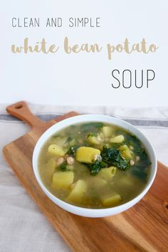 Clean And Simple White Bean Potato Soup Vegan Gluten Free, Vegan Vegetarian, Cubed Potatoes, Frozen Spinach, Vegan Kitchen, Plant Based Protein, Pot Recipe, Potato Soup, White Beans