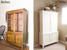 China Cabinet Makeover | Annie Sloan Chalk Paint Now this piece could be used as an armoire any where in the house, not just for a china hutch.