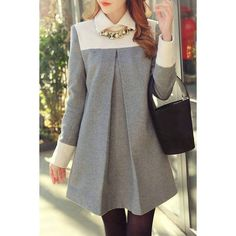 Chic Flat Collar Long Sleeve Hit Color Women's Maternity Dress