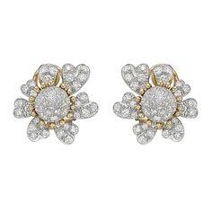 Estate Tiffany & Co. Schlumberger Pavé Diamond Flower Earclips