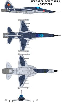 Northrop F-5E Tiger II aggressor General characteristics Crew: 1 Length: 47 ft 4¾ in (14.45 m) Wingspan: 26 ft 8 in (8.13 m) Height: 13 ft 4½ in (4.08 m) Wing area: 186 ft² (17.28 m²) Airfoil: NACA...