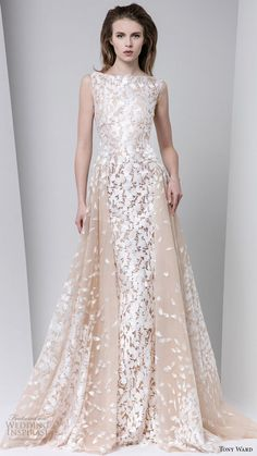 tony ward fall winter 2016 2017 rtw sleeveless bateau neck a line off white evening dress wedding inspiration