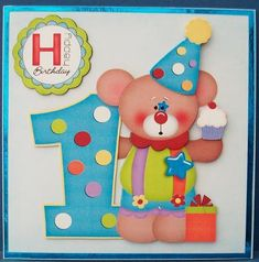 Birthday bear 1yr old on Craftsuprint designed by Carol Smith - made by Cheryl French - Printed onto matt photo paper. Matted base image onto blue mirri card and attached to square card stock using ds tape. Built up image with 1mm foam pads. - Now available for download!