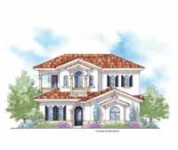 Floor Plans AFLFPW07098 - 2 Story Mediterranean Home with 4 Bedrooms, 4 Bathrooms and 3,191 total Square Feet