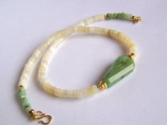 Faceted Peruvian and Australian Opal necklace by pinkowljewelry