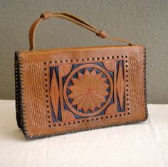 SOLD Vintage Tooled Leather Purse Stitched by DeborahsForgetMeNots,