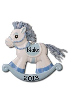 SALE! Baby's First Christmas Blue Rocking Horse Ornament #OR803-B