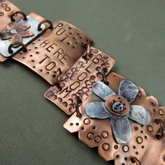 Mixed Metal Bracelet - Copper Hand Stamped Jewelry with Cold Connections and Rivets