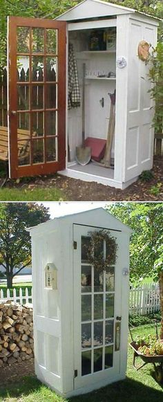 Build A Tool Shed From Repurposed Doors Awesome Old Furniture Repurposing Ideas for Your Yard and Garden by debora Unique Garden, Diy Garden, Home And Garden, Garden Sheds, Garden Tools, Wooden Garden, Garden Landscaping, Landscaping Software, Landscaping Plants