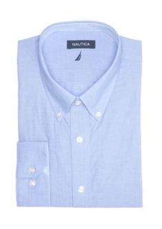 Nautica  Classic Fit Blue Non Solid Button Down Dress Shirt