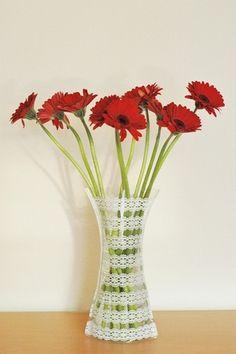plastic crochet vase