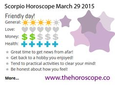 Friendly day for #Scorpio on March 29th 2015 #horoscope … http://www.thehoroscope.co/daily-horoscope/scorpio-sign-Scorpio-Daily-Horoscope-March-29-2015-7670.html