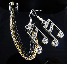 Ear Cuff, Chain, and Music Note Earrings by SecretJewelry