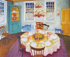 """Ellie Schaul,   """"Dining Room""""   Oil on Linen,   20 x 24 inches"""