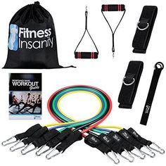 Resistance Band Set - 5 Stackable Exercise Bands - Free Waterproof Carrying Case comes with Door Anchor Attachment Legs Ankle Straps & Exercise Guide - Anti Snap - 100% Life Time Guarantee