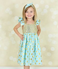 Look at this Just Couture Mint & Gold Sequin Angel-Sleeve Dress - Infant, Toddler & Girls on #zulily today!