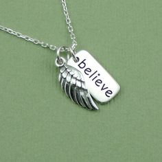 Believe Wing Necklace - charm - sterling silver - angel pendant - handcrafted jewelry #SterlingSilverCharms