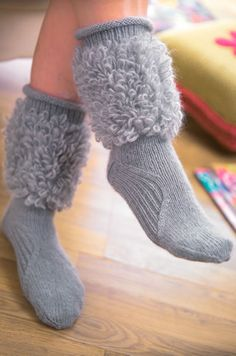 Moon - Free Knitting Patterns - Socks Patterns - Lets Knit Magazine hate the fuzzy leg, but that foot treatment is really neat. Knitted Boot Cuffs, Knit Boots, Knitted Slippers, Crochet Socks, Knitting Socks, Knit Crochet, Knitting Patterns Free, Free Knitting, Free Pattern