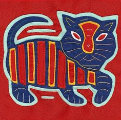 Cool Blue Mola Cat  Hand Stitched Kuna Indian Reverse by molamama, $17.50