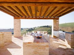 Italy vacation rental dining space all made of stone and wood