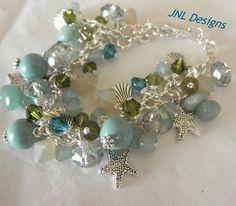 Ocean Colors Adjustable Charm Bracelet   jnldesigns - Jewelry on ArtFire