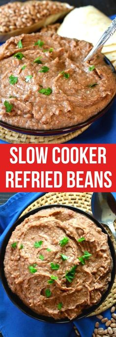 Homemade Crockpot Refried Beans is a super easy side dish. They are so much tastier and so inexpensive compared to the store-bought beans. An easy recipe made from scratch for a side dish you can enjoy now or freeze for later. #slowcookerrefriedbeans #refriedbeans #crockpotrefriedbeans #veganrecipes #homemaderefriedbeans Best Gluten Free Recipes, Vegan Recipes Easy, Mexican Food Recipes, Popular Recipes, Yummy Recipes, Vegan Slow Cooker, Slow Cooker Recipes, Crockpot Recipes, Beans Recipes