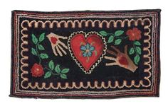 "FOLKSY HOOKED RUG.   American, late 19th-early 20th century, wool on burlap. Large red heart with white ruffled border floats between two outstretched hearts in hands, surrounded by red flowers with green leaves, additional scalloped border and six narrow mutlicolored borders. Original twill rug binding. Minor imperfections. 21 1/2"" x 35""."