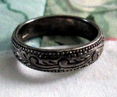 RING   ETCHED  BAND  Filigree   Patina  925  by MOONCHILD111, $15.95 https://www.etsy.com/shop/MOONCHILD111