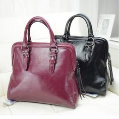 Glazed faux leather tote
