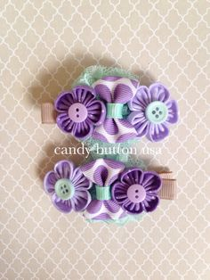 Purple Hairclip Baby Hairclip Newborn Hairclip by candybuttonusa Felt Hair Clips, Baby Hair Clips, Flower Hair Clips, Easy Hair Bows, Girl Hair Bows, Kanzashi Tutorial, Flower Tutorial, How To Make Hair, How To Make Bows