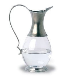 Serving Items :: Metal Serveware :: Match Pewter :: Match Pewter Glass Pitcher w/ Pewter Handle Modern Dinnerware, Dinnerware Ideas, Knife And Fork Set, Atlanta, Wine Carafe, Wine Bucket, Coffee Accessories, Kitchen Accessories, Crystals In The Home