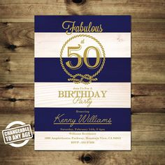 Nautical 50th Birthday Invitation  Adult by PapierMignonID on Etsy
