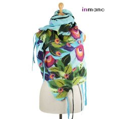 Buno felted scarf, spring meadow III - silk and wool nuno felted scarf, felted shawl, felted wool scarf by inmano via Etsy.  One hundred and thirteen dollars.