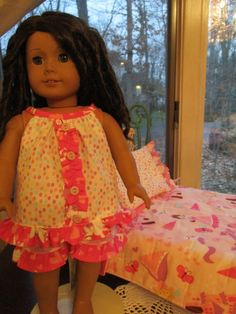 """Princess & Unicorn 18"""" Summer Doll Pajamas and Bedding Set to fit your 18"""" American Girl Doll! by Emmakate0 on Etsy"""