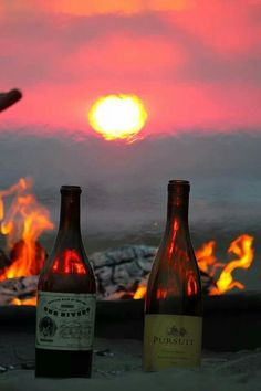 Sunset, bonfire,wine, beach