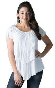 Color Fx Women's White Triple Tier Short Sleeve Top | Cavender's