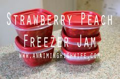 Strawberry Peach Freezer Jam: Sweet strawberries plus juicy peaches makes the most delicious summer jam that you can enjoy all year long!