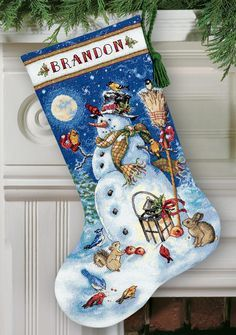 Snowman and Friends Cross Stitch Christmas Stocking Kit Large