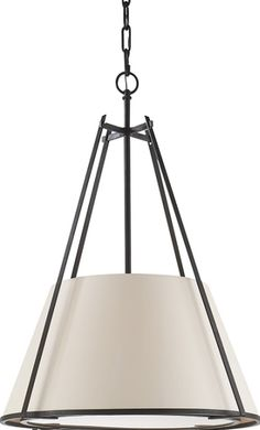 Visual Comfort S5033BR-NP Ian K. Fowler Aspen Large Conical Pendant in Black Rust with Natural Paper Shade