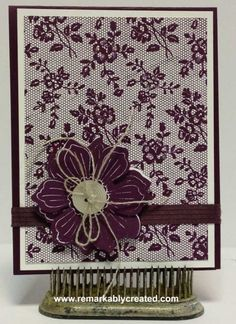 I love lace - stunning background stamp from Stampin' uP! that mimics lace!