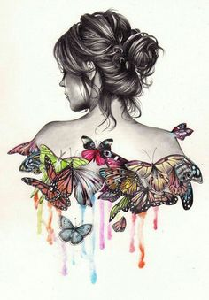 draw drawings cool easy girly colourful pencil bun fun woman 1001 drawing butterflies messy tutorials sketches sketch archziner butterfly bored