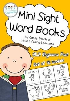 QLD FONT Mini Sight Word Book Printables. Perfect for the Australian classroom, these mini sight word books are a great way to teach early readers important pre-reading and early reading skills. The short, repetitive texts are a great way to build early reading confidence.
