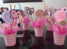 These Candy Centerpieces double as Party Favors! Candy Party, Party Favors, Girl Birthday, Birthday Parties, Kid Parties, Butterfly Party, Baby Shower, Candy Bouquet, Fiesta Party