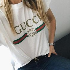 Fashion Style Gucci Women's T-Shirt Tee High Quality Cotton,Perfect Gift for her for him - GucciWom Gucci Fashion, Womens Fashion, Fashion 101, Gucci Shirts, Gucci T Shirt Women, Gucci Outfits, T Shirts For Women, Clothes For Women, Jeans